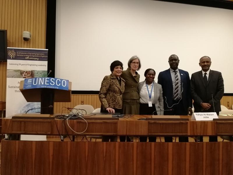 UNESCO leaders with WFEO President Dr. Marlene Kanga