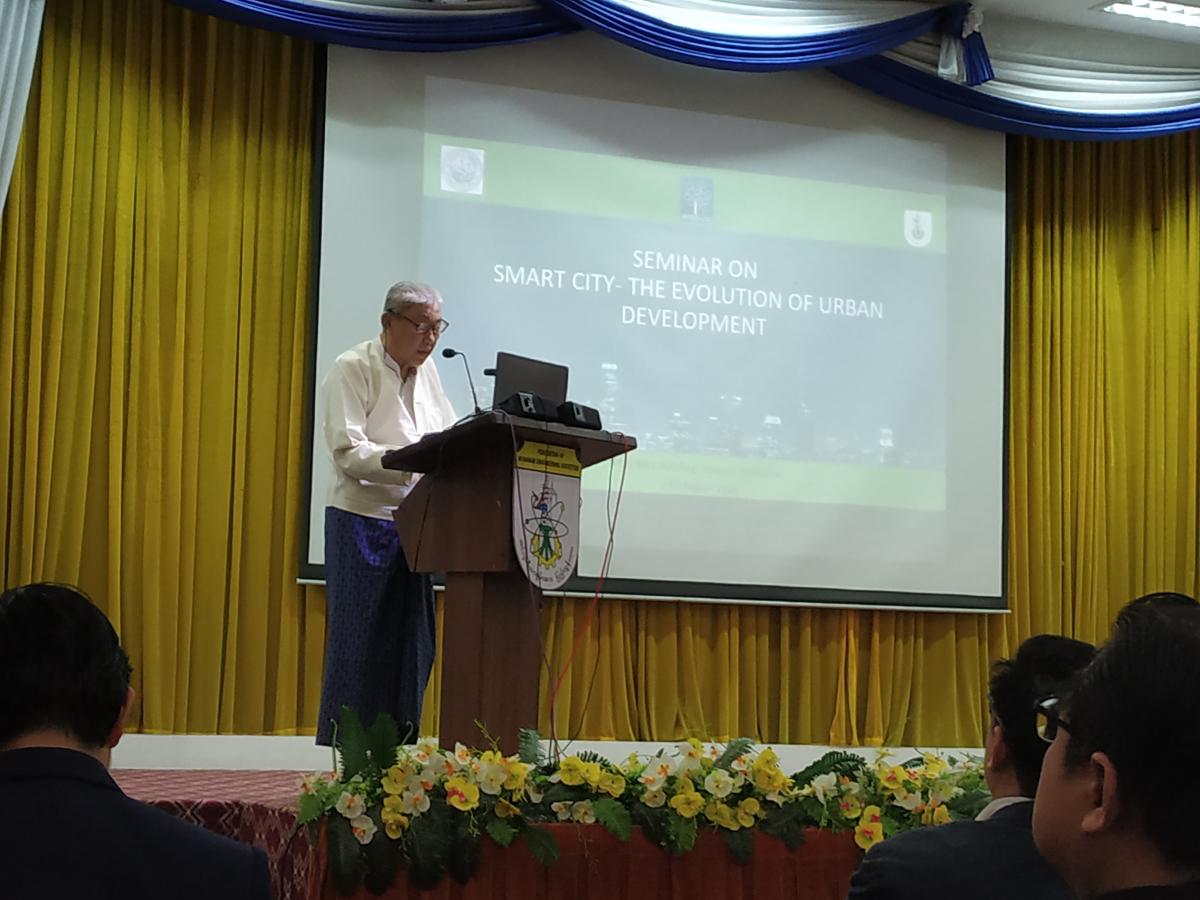 Vice President Myanmar Engineering Society addressing the audience at International Seminar on 'Smart Cities' at Yangon, Myanmar