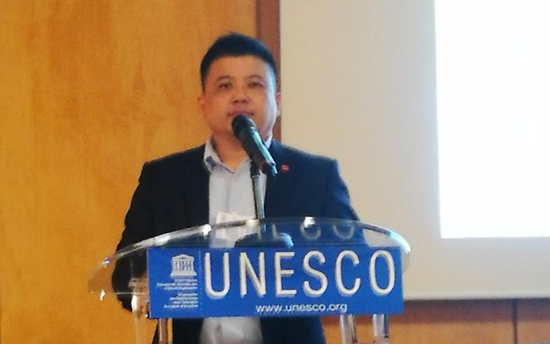 Dr Chee-Fai Tan making his presentation at the 11th Forum of NGOs - UNESCO