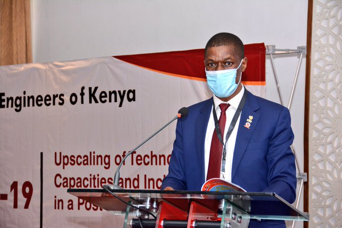 IEK President Eng. Nathaniel Matalanga and member of WFEO Executive Council, speaks at the opening of the Conference, 25 November 2020