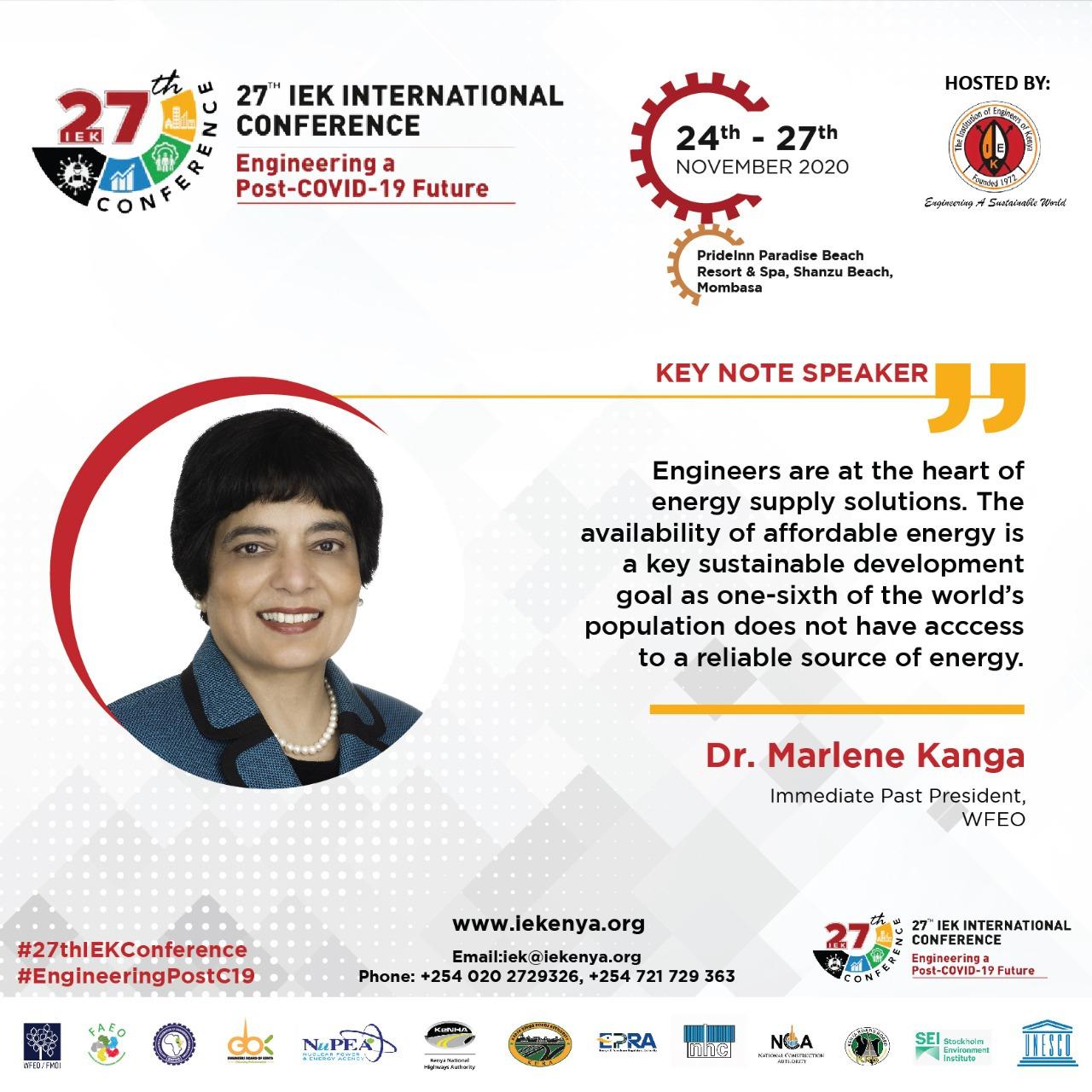 Social media image of the presentation by WFEO Immediate Past President Dr Marlene Kanga