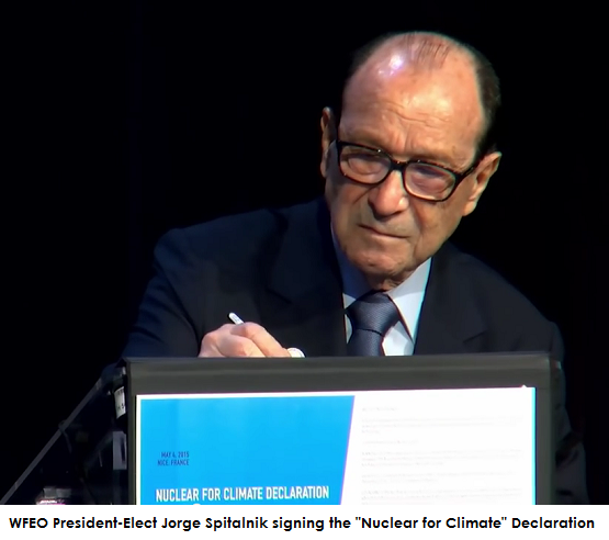 WFEO President-Elect Jorge Spitalnik signing the Nuclear for Climate Declaration