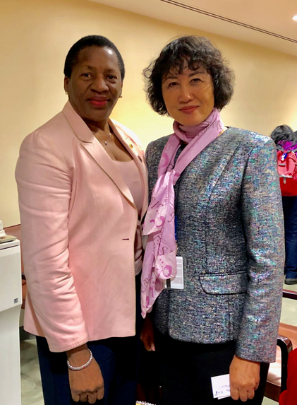 Ruomei Li with Pennelope Beckles, New Chair of UN Women. Permanent Mission of Republic of Trinidad and Tobago to UN