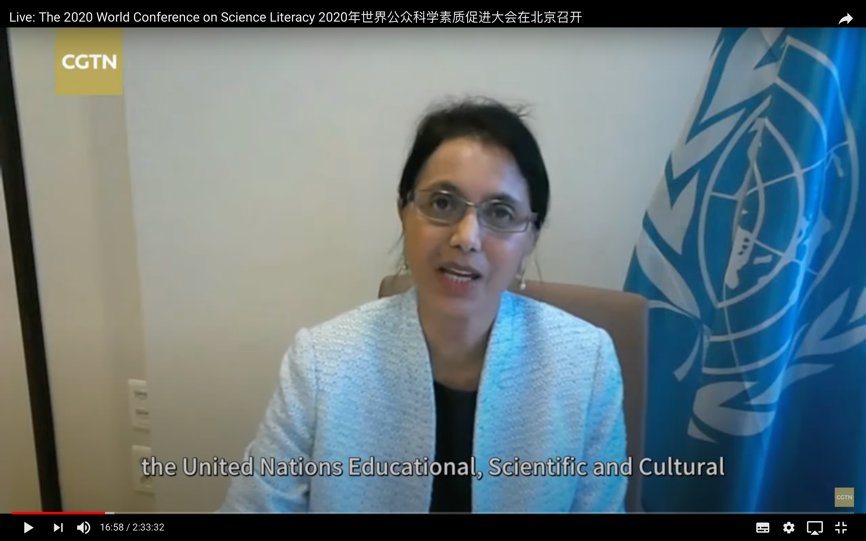 Shamila Nair-Bedouelle, Assistant Director-General for the Natural Sciences of UNESCO at the World Conference on Science Literacy 2020