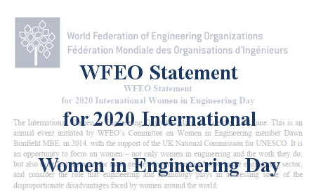 WFEO Statement for 2020 International Women in Engineering Day
