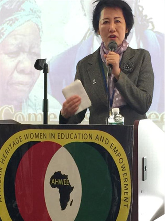 Ruomei Li speaking on a side event of NGO CSW/NY, 15 March 2018