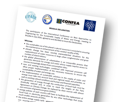 Brasilia Declaration - International Engineering Conference 2016 – New Approaches for Supplying Sustainable Water and Energy