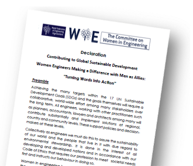 The Women in Engineering Declaration: Contributing to Global Sustainable Development - Women Engineers Making a Difference with Men as Allies: 'Turning Words into Action'