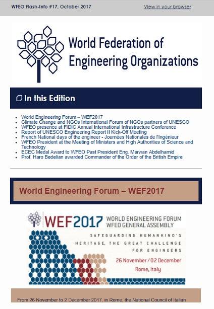 WFEO Flash Info 18 - November 2017
