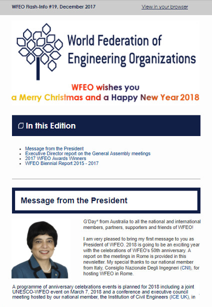 WFEO Flash 19 - December 2017