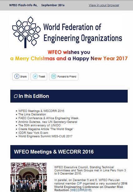 WFEO Flash Info 8 - December 2016