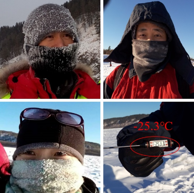 The scientific team in the extremely cold working conditions
