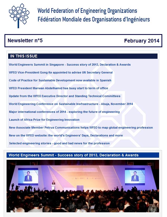 WFEO E-Newsletter 5 - February 2014