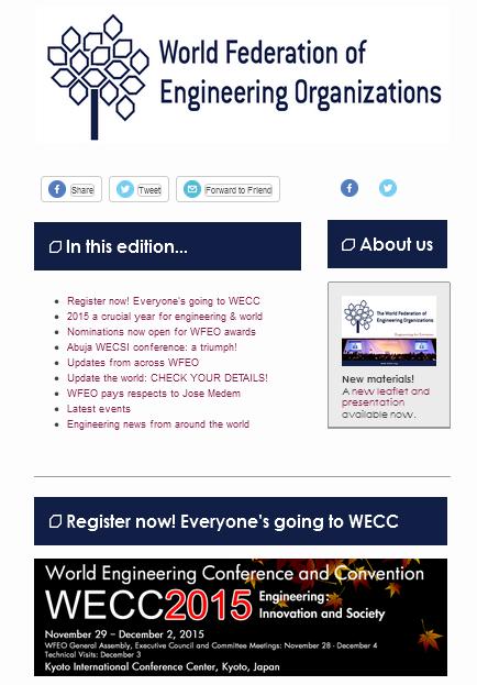WFEO E-Newsletter 8 - August 2015