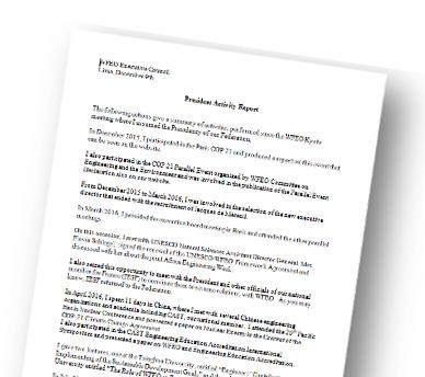 President Activity Report - 2016