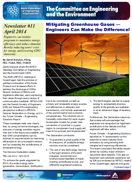 Engineering and the Environment Committee Newsletter – Spring 2014
