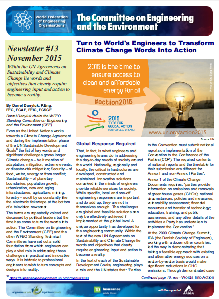 Engineering and the Environment Committee Newsletter – November 2015