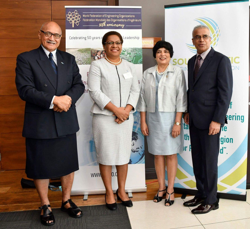 SPEA Symposium: L to R: President of Fiji Mag Gen. Jioji Konrote, Fiji Minister for Women Children and Poverty Alleviation and Acting Minister for Infrastructure, Mereseini Vuniwaqa, Dr Marlene Kanga WFEO President and Mr. Pratarp Singh, SPEA President