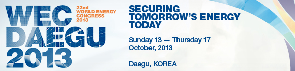 World Energy Congress (WEC), October 2013, Daegu, Korea