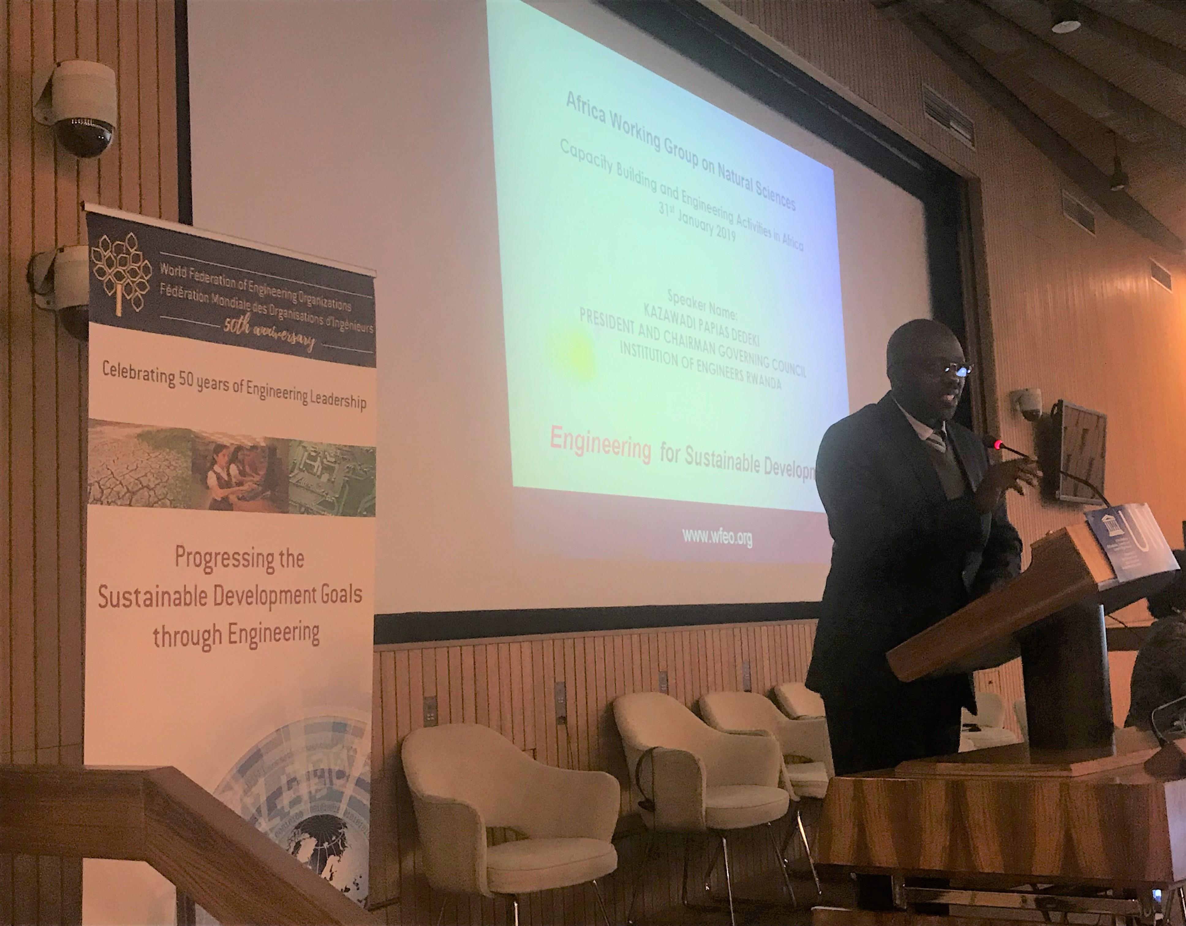 Eng. Papias  Kazawadi Dedeki, President Institution of Engineers Rwanda