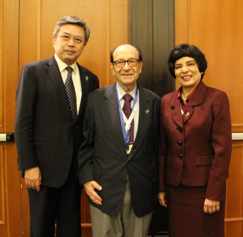 WFEO President-Elect Gong Ke, Past President Jorge Spitalnik and President Marlene Kanga