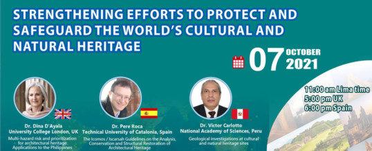 """WFEO CDRM Webinar """"Strengthening efforts to protect and safeguard the world's cultural and natural heritage"""""""