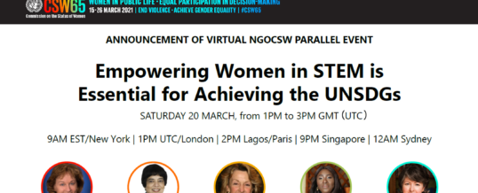 NGO CSW65 Parallel Event – Empowering Women in STEM is Essential for Achieving the UN SDGs