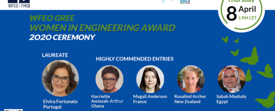 The awarding ceremony of the WFEO GREE Women in Engineering Award 2020