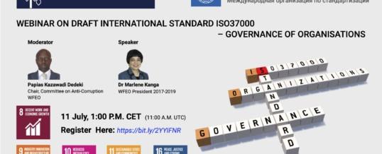 WFEO Webinar on draft international standard ISO 37000 – Governance of organisations